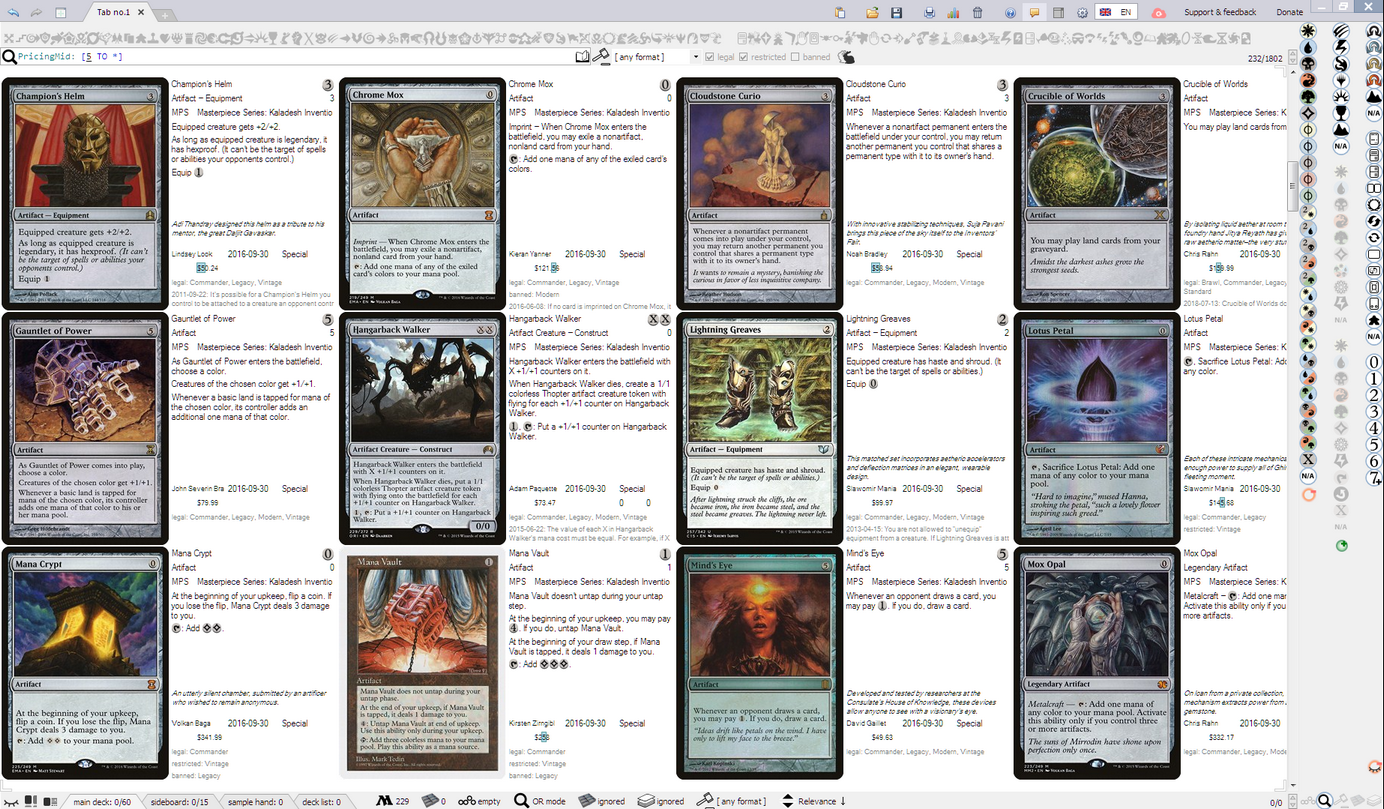 Collectible Card Game Headquarters • View topic - Mtgdb Gui: search